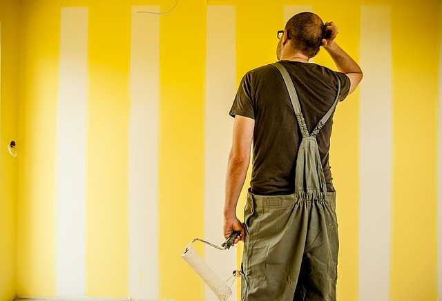 Painter thinking about project